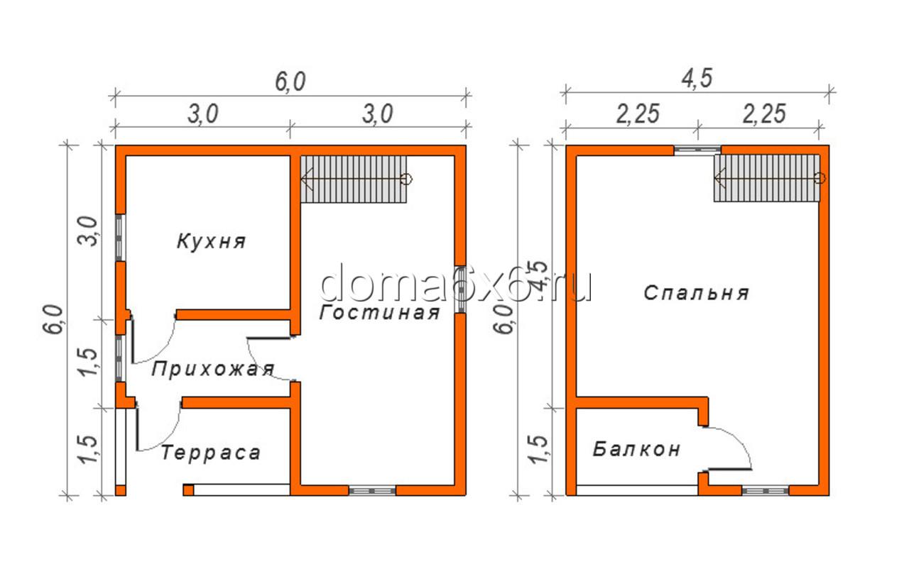 """Проект дома из бруса """"Виктор"""" - план"""