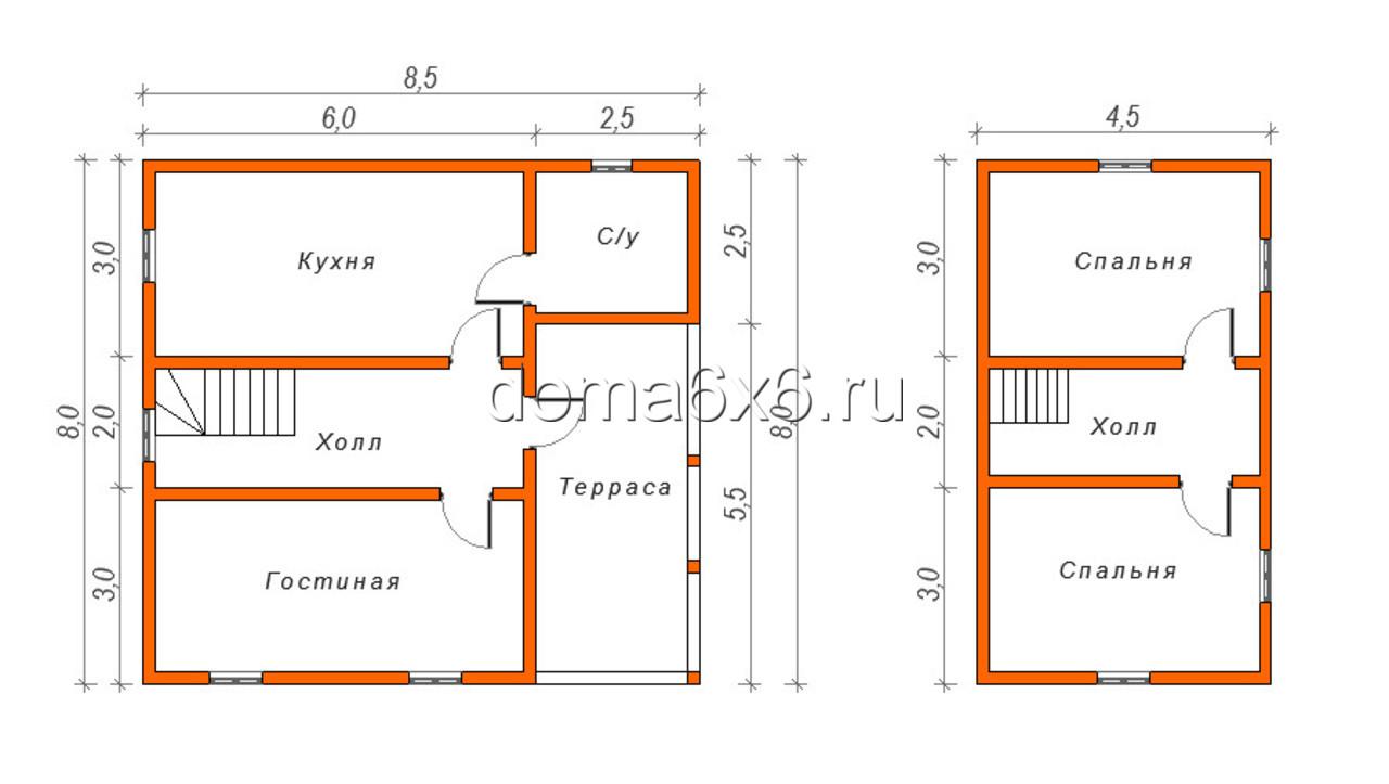"""Проект дома из бруса """"Никита"""" - план"""