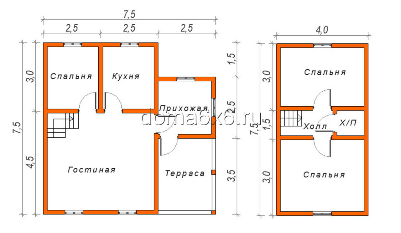"""Проект дома из бруса """"Альберт"""" - план"""