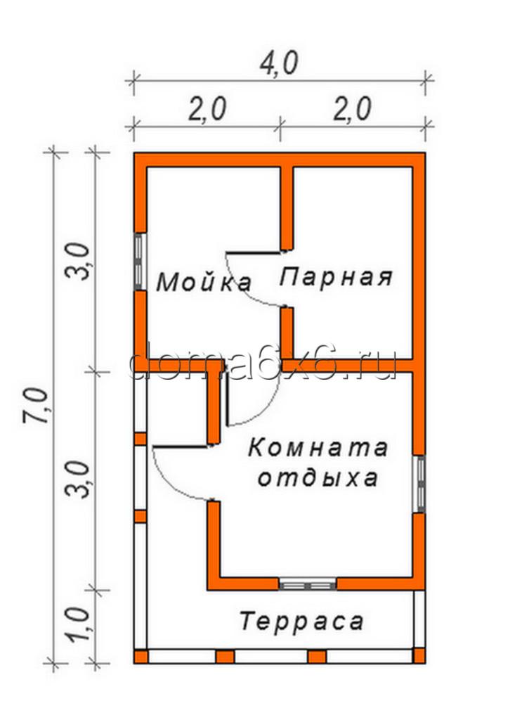"Проект бани из бруса ""Дарья"" - план"