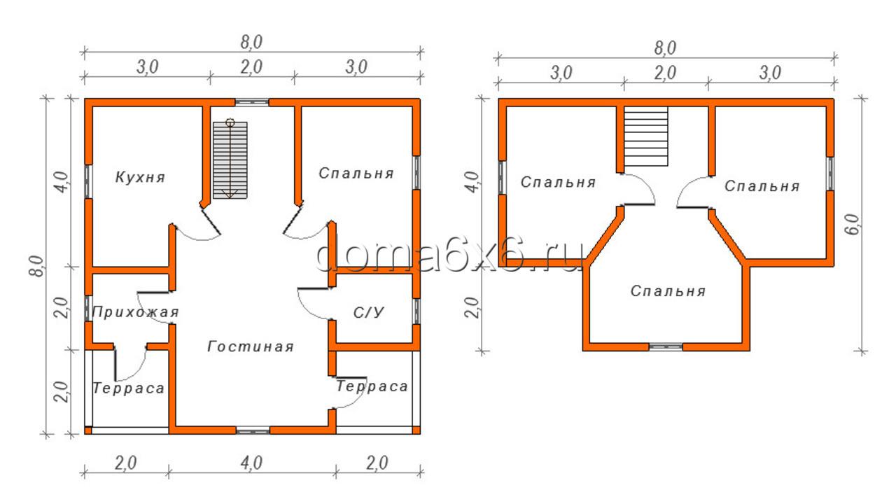 "Проект дома из бруса ""Добрыня"" - план"
