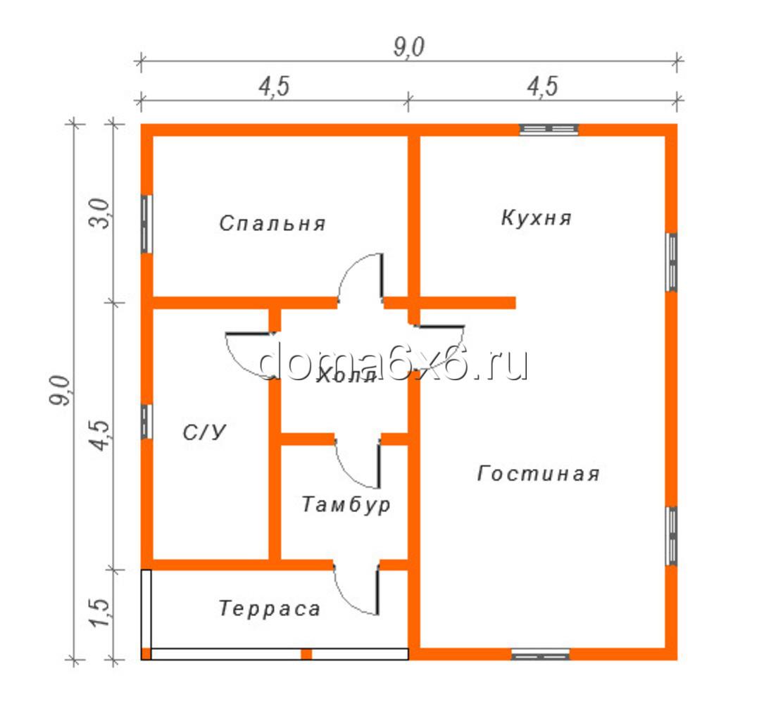 """Проект дома из бруса """"Фёдор"""" - план"""