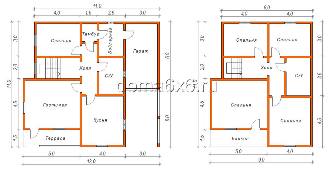 """Проект дома из бруса """"Филипп"""" - план"""