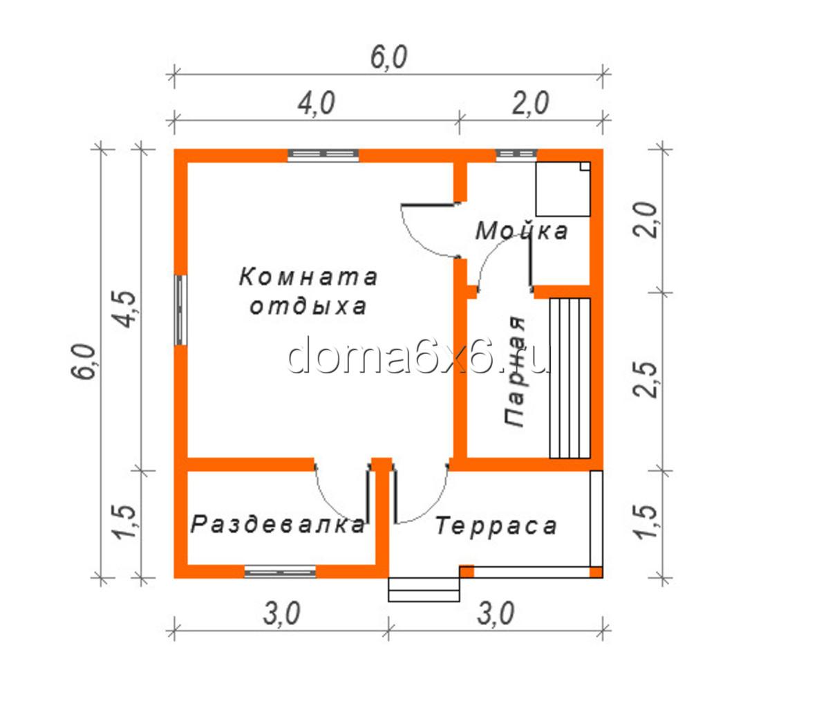"Проект бани из бруса ""Татьяна"" - план"