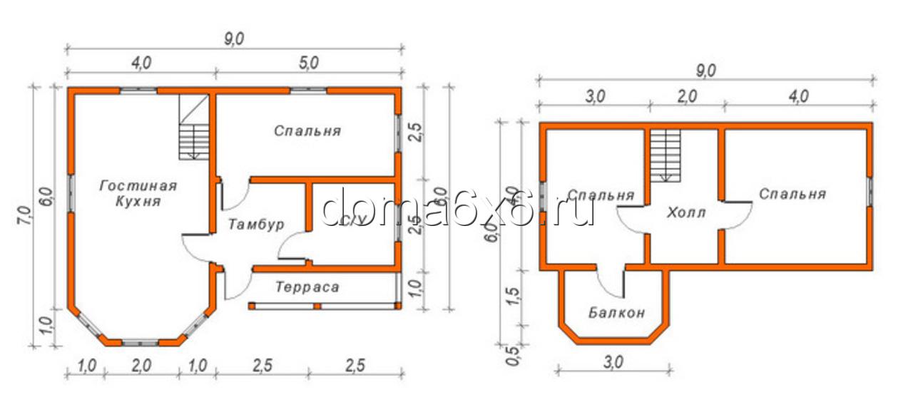 Строительство дома из бруса в Малой Вишере -  план