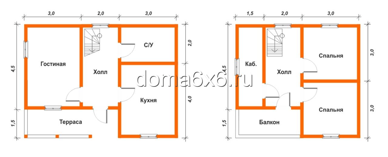 """Проект дома из бруса """"Архип"""" - план дома"""