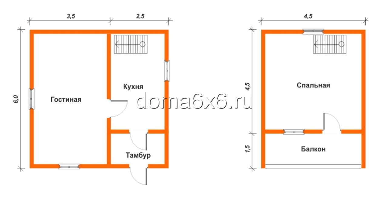 "Проект дома из бруса ""Терентий"" - план"