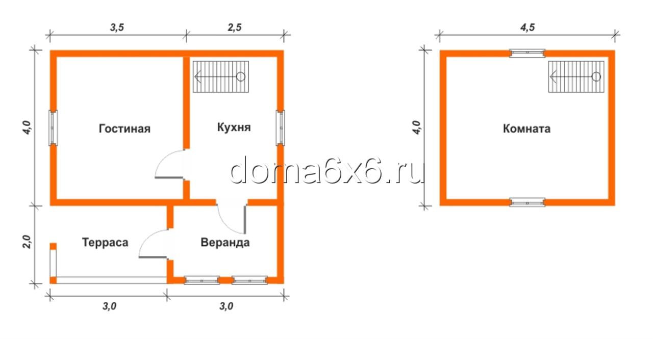 """Проект дома из бруса """"Илья"""" - план"""