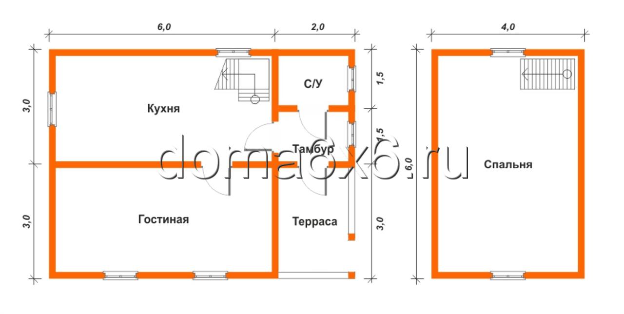 """Проект дома из бруса """"Максим"""" - план"""